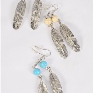 Jewelry - 6 Pack Wholesale Metal Feather Earring Lot